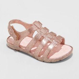 Girls Pink Sparkle Glitter Fisherman Sandals NWOT